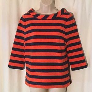 Boden Orange & Navy Striped Top Size 8